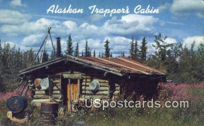 Trappers Cabin - Interior of Alaska Postcards, Alaska AK Postcard