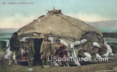 Eskimos & Their Igloo - Misc, Alaska AK Postcard
