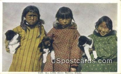 Six Little Arctic Natives - Misc, Alaska AK Postcard