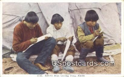 Eskimo Boys Carving Ivory - Misc, Alaska AK Postcard