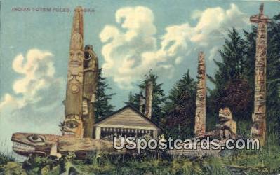 Indian Totem Poles - Misc, Alaska AK Postcard