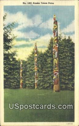 Alaska Totem Poles - Misc Postcard