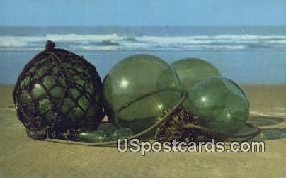 Japanese & Russian Glass Floats - Misc, Alaska AK Postcard