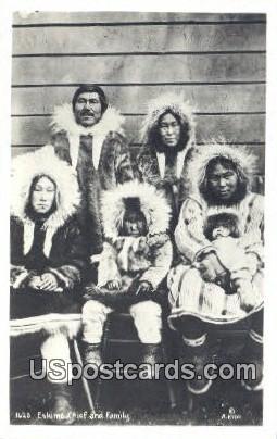 Real Photo Eskimo Chief & Family - Misc, Alaska AK Postcard
