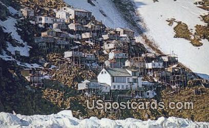 Cliff Hanging Eskimo Village - Ukivok, Alaska AK Postcard