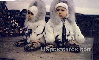 Eskimo Twins - Arctic Region, Alaska AK Postcard