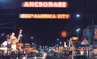 4th Ave - Anchorage, Alaska AK Postcard