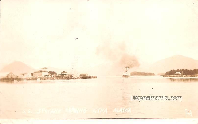 SS Spokane Leaving - Sitka, Alaska AK Postcard