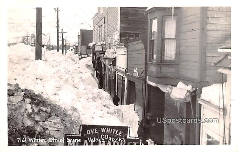 Winter Street Scene - Valdez, Alaska AK Postcard