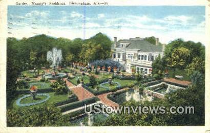 Garden. Massey's Residence - Birmingham, Alabama AL Postcard