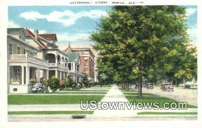 Government Street - Mobile, Alabama AL Postcard