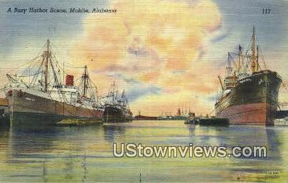 Busy Harbor - Mobile, Alabama AL Postcard