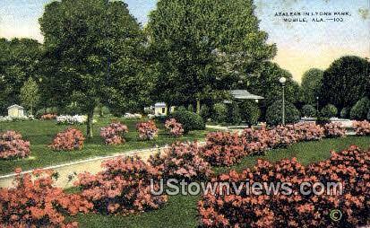 Azaleas, Lyons Park - Mobile, Alabama AL Postcard