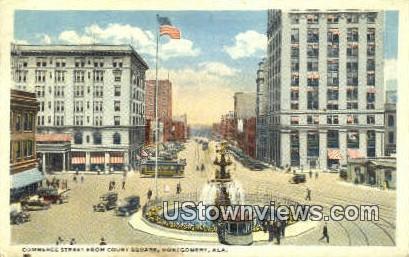 Commerce Street, Court Square - Montgomery, Alabama AL Postcard