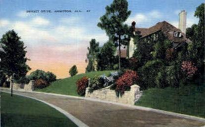 Sunset Drive - Anniston, Alabama AL Postcard