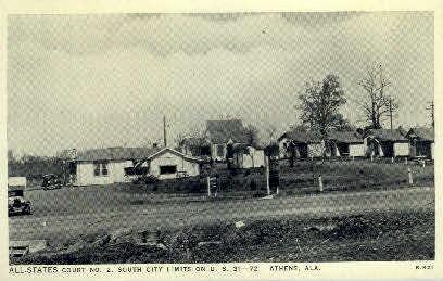 All-States Court - Athens, Alabama AL Postcard