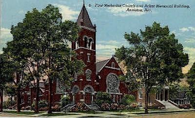 First Methodist Church - Anniston, Alabama AL Postcard