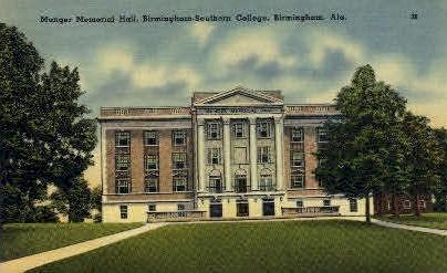 Birmingham College, Munger Hall - Alabama AL Postcard