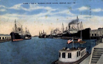 Alabama State Docks - Mobile Postcard