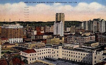 Business Section - Birmingham, Alabama AL Postcard