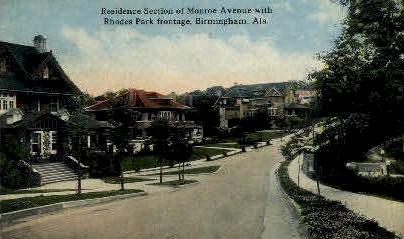 Monroe Avenue - Birmingham, Alabama AL Postcard
