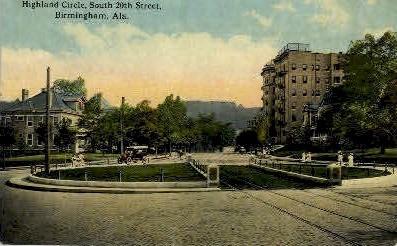 Highland Circle - Birmingham, Alabama AL Postcard