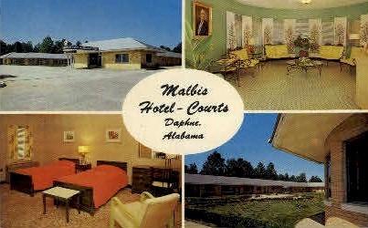 Mallis Hotel - Daphne, Alabama AL Postcard