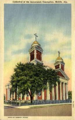 Cathedral of Immaculate Conception - Mobile, Alabama AL Postcard