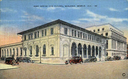 Post Office - Mobile, Alabama AL Postcard