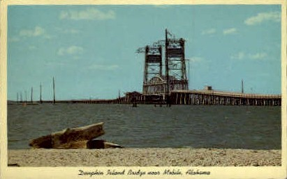 Dauphin Island Bridge - Mobile, Alabama AL Postcard