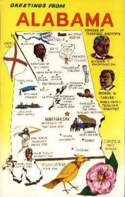 Alabama Map - Misc Postcard