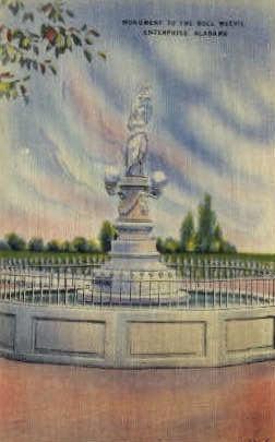 Boll Weevil Monument - Enterprise, Alabama AL Postcard