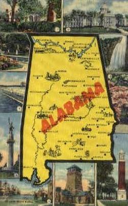 Map - Misc, Alabama AL Postcard
