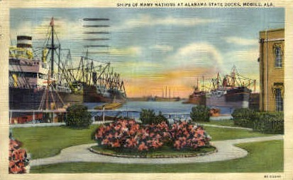 Alabama State Docks - Mobile Postcard