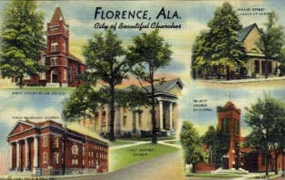 City of Beautiful Churches - Florence, Alabama AL Postcard