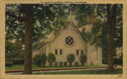 St. Mary's Mission  - Opelika, Alabama AL Postcard