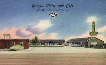 Grimes Motel - Troy, Alabama AL Postcard