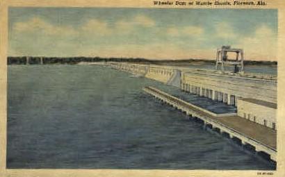 Wheeler Dam - Florence, Alabama AL Postcard