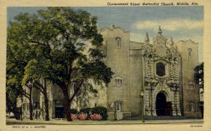 Gov. Street Methodist Church - Mobile, Alabama AL Postcard
