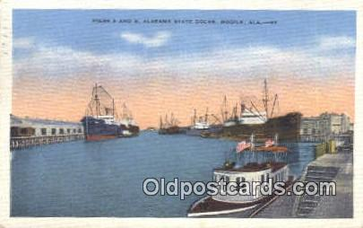 Piers A & B, State Docks - Mobile, Alabama AL Postcard
