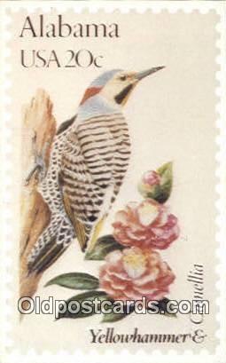 Yellowhammer & Camellia - Misc, Alabama AL Postcard