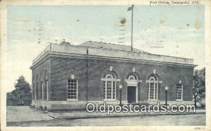 Post Office - Demopolis, Alabama AL Postcard