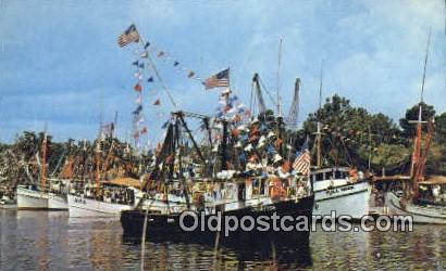 Shrimp Fleet - Bayou La Batre, Alabama AL Postcard