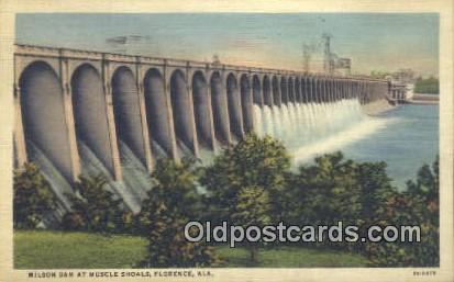 Wilson Dam, Muscle Shoals - Florence, Alabama AL Postcard