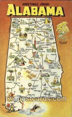 Greetings from, AL     ;     Greetings from, Alabama Postcard