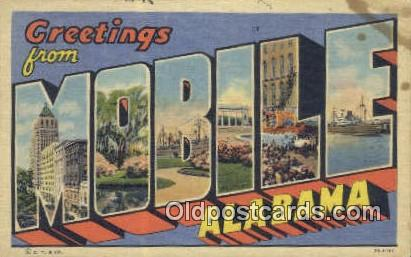 Linen, Greetings from - Mobile, Alabama AL Postcard
