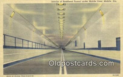 Bankhead Tunnel, Mobile River - Alabama AL Postcard
