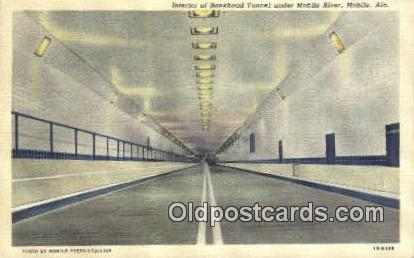 Bankhead Tunnel, Mobile River - Alabama AL Postcard