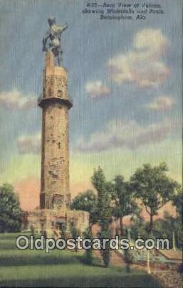 Vulcan, Waterfalls & Pools - Birmingham, Alabama AL Postcard