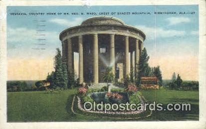 Vestavia, Country Home of Mr Geo B Ward - Birmingham, Alabama AL Postcard